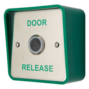 Infrared exit button, green door release legend, green backbox