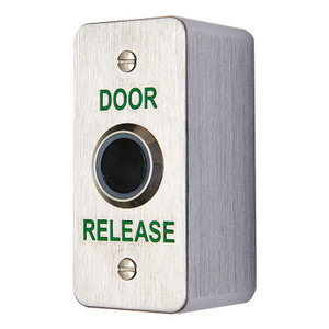 Slim, brushed stainless steel infrared door release button - Surface