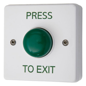 Press to Exit Green Dome Button on White Backbox