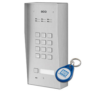 1 Way Audio Door Entry Panel with Keypad, Surface Mount, Stainless Steel, Key Fob