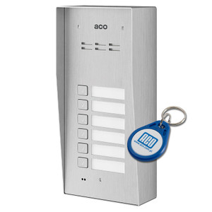 6 Way Audio Door Entry Panel, Surface Mount, Stainless Steel, Key Fob
