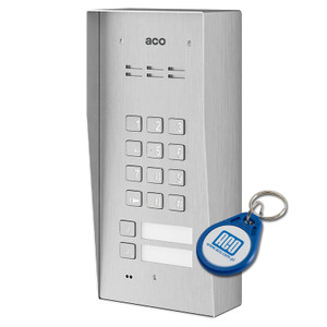 2 Way Audio Door Entry Panel with Keypad, Surface Mount, Stainless Steel, Key Fob