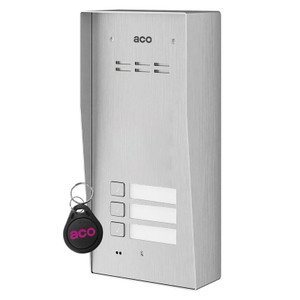 3 Way Audio Door Entry Panel, Surface Mount, Stainless Steel, Key Fob