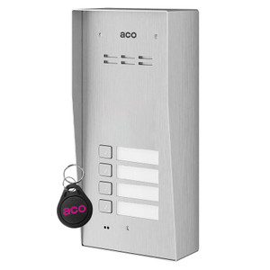 4 Way Audio Door Entry Panel, Surface Mount, Stainless Steel, Key Fob