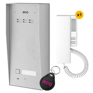 1 Way audio door entry kit, stainless steel panel, handset and fob