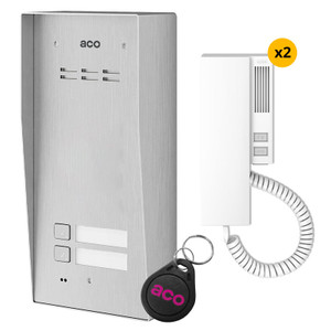 2 Way audio door entry kit, stainless steel panel, handset and fob