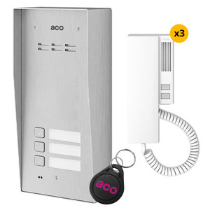 3 Way audio door entry kit, stainless steel panel, handset and fob
