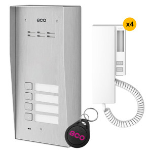 4 Way audio door entry kit, stainless steel panel, handset and fob