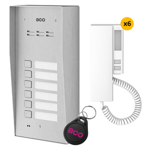 6 Way audio door entry kit, stainless steel panel, handset and fob