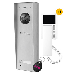 1 Way Video Door Entry Kit, Panel, White Handset and fob