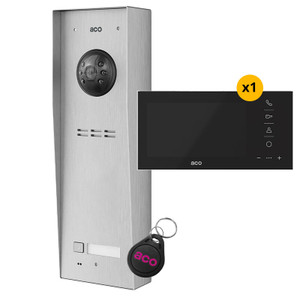 """1 Way Video Door Entry Kit, Panel, 7"""" Video Monitor with Black Glass Front and fob"""