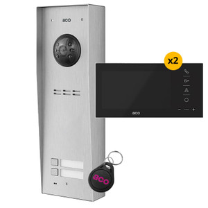 """2 Way Video Door Entry Kit, Panel, 7"""" Video Monitor with Black Glass Front and fob"""