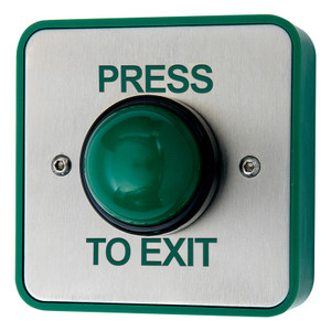 Green Dome Exit Button with PRESS TO EXIT legend, Brushed Stainless Steel
