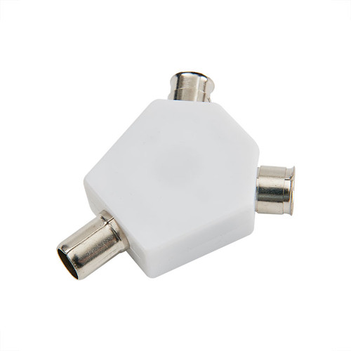 Coaxial TV aerial splitter, Y Type, 1 in 2 out