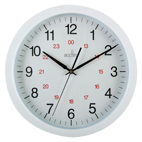 Commercial Clock, 355mm dia, 12/24 Hour, White