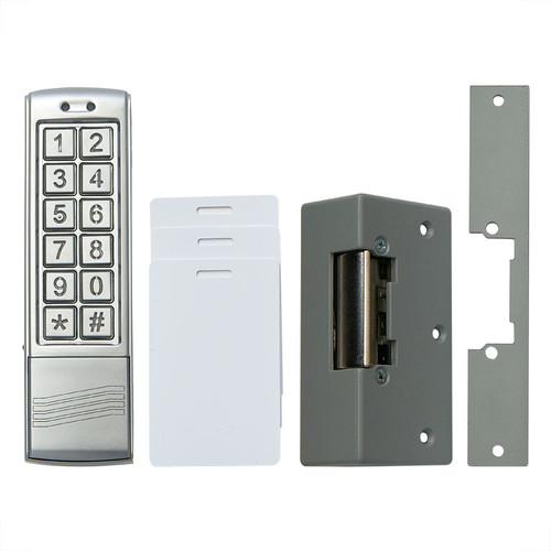 Silver Colour Slimline Keypad/Proximity Reader, White Proximity Cards, Electric Door Lock