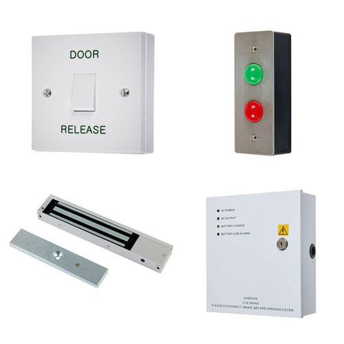 Wait & Enter Access Control Kit, Door Release Switch, Maglock, Z & L Brackets, 12V DC Boxed Power Supply