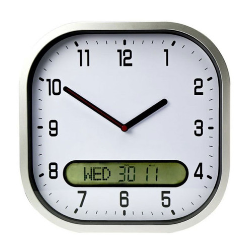 High Contrast Wall Clock, Oversized with Distinct Hands for Easy Reading, 30cm, White