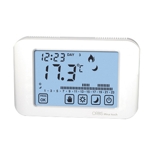 White Thermostat with touchscreen digital display