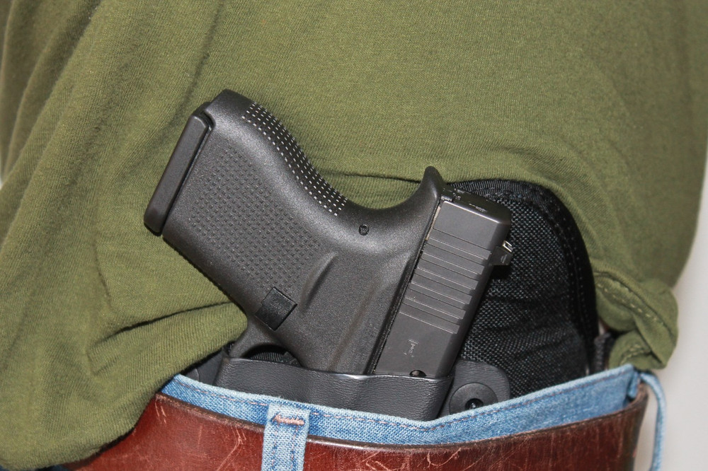 The Glock 43 is rapidly accessible from the combat cut TRR IWB concealed carry holster.