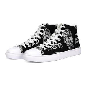 White Skulls on Black Hi-Top Sneakers
