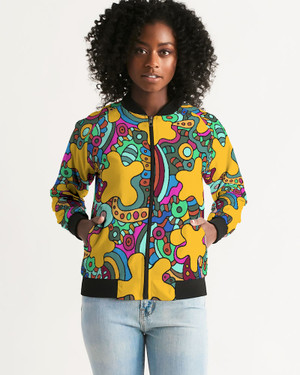 Women's Psychedelic Yellow Bomber Jacket