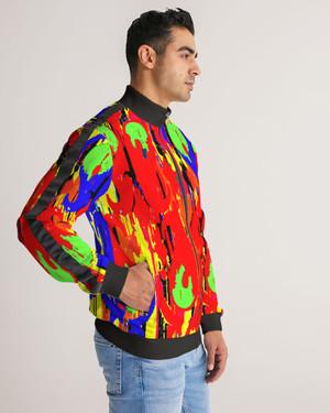 Paisley Poppin Striped-Sleeve Track Jacket