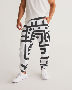 Men's Black and White Joggers