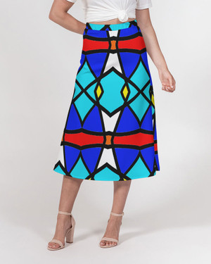 Stained Glass A-Line Midi Skirt