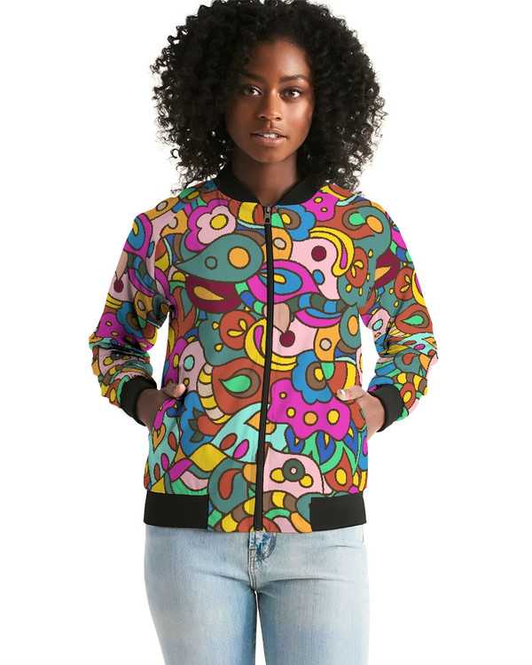 Women's Psychedelic Pink  Bomber Jacket