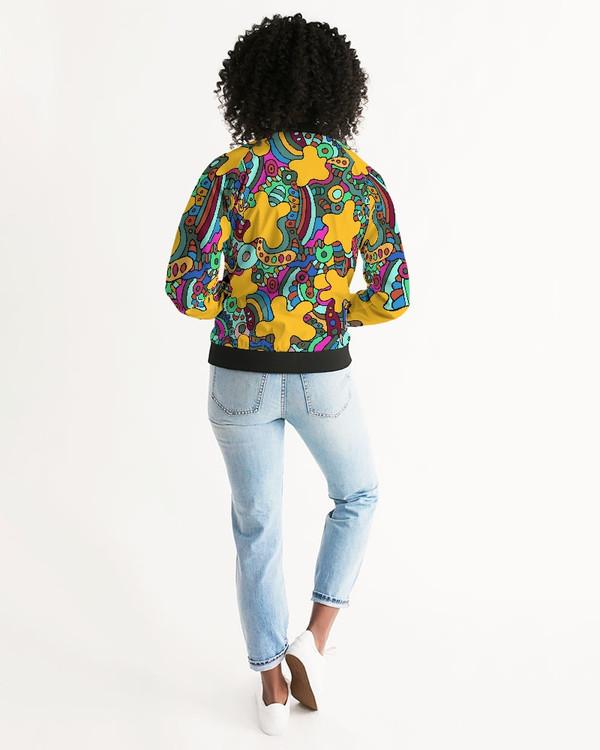 Women's Psychedelic Yellow Bomber Jacket