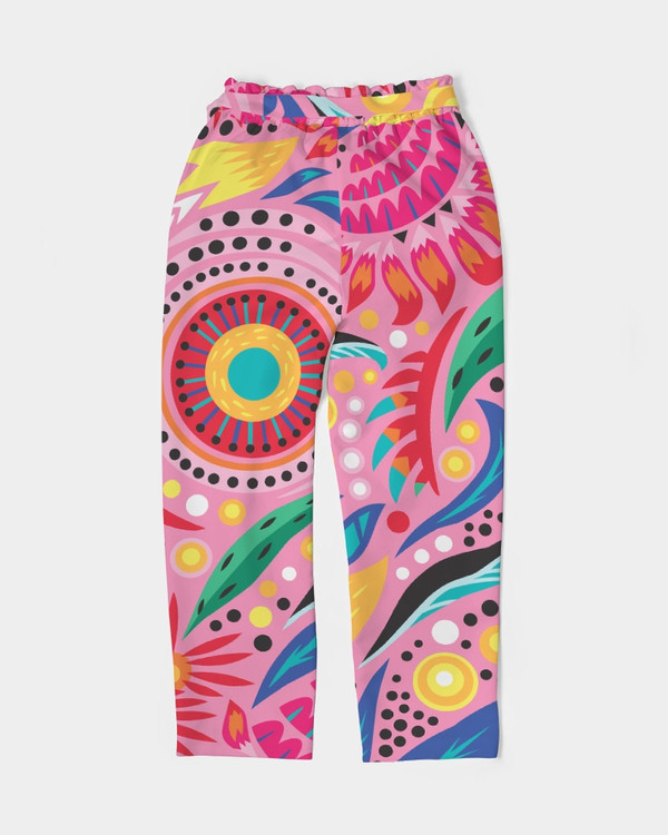 Bright Flowers in Pink Tapered Ankle Pants