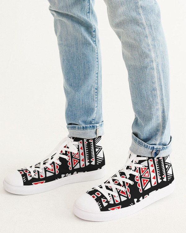 Aztec Red Black and White - Men's Hightop Canvas Shoe(200524100409)