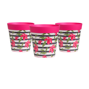 set of 3 small pink 'hibiscus stripe' 15cm indoor/outdoor pots