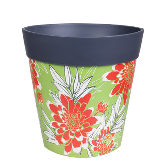 grey green and red floral, medium 22cm indoor/outdoor pot