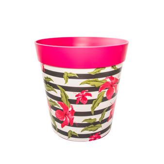 pink plastic 'hibiscus stripe' large 25cm indoor/outdoor pot