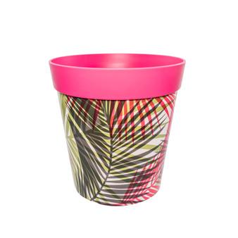 pink plastic palm leaf pattern, large 25cm indoor/outdoor pot