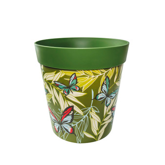 green plastic 'butterfly palms' large 25cm indoor/outdoor pot
