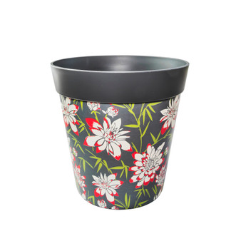 grey plastic 'bamboo floral' large 25cm indoor/outdoor pot