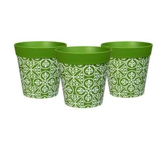 set of 3 small green 'maroc tile' 15cm indoor/outdoor pots