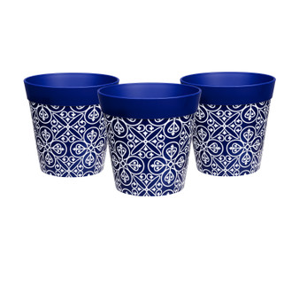 set of 3 small blue 'maroc tile' 15cm indoor/outdoor pots