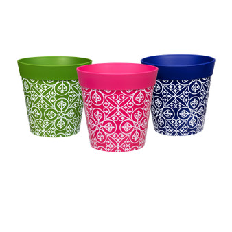Set of 3 small multi coloured 'maroc tile', 15cm indoor/outdoor pots