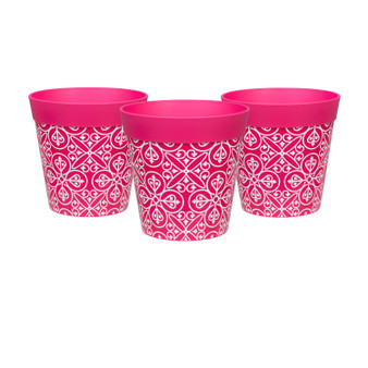 Set of 3 small pink 'maroc tile' 15cm indoor/outdoor pots