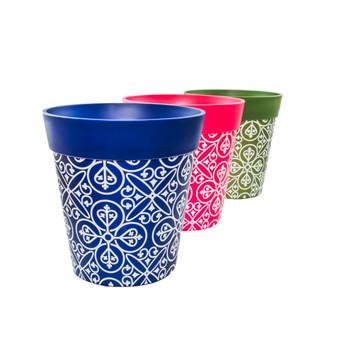 Set of 3 plastic 'Maroc Tile' 22cm outdoor/indoor pot