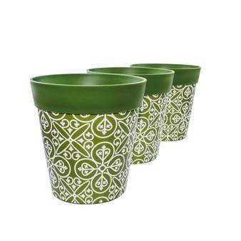 Set of 3 green plastic 'Maroc Tile' 22cm outdoor/indoor pot