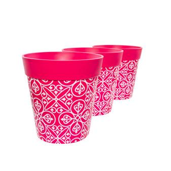 Set of 3 pink plastic 'Maroc Tile' 22cm outdoor/indoor pot