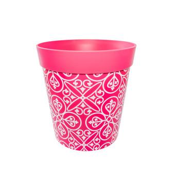 pink plastic 'maroc tile' large 25cm indoor/outdoor pot