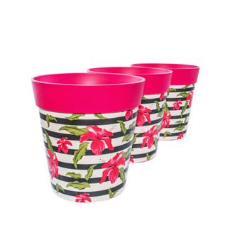 Set of 3 pink plastic hibiscus stripe,  indoor/outdoor pots 22cm x 22cm