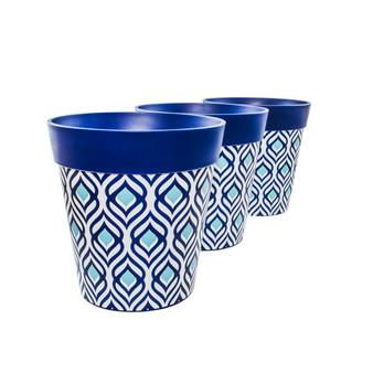 Set of 3 blue plastic peacock indoor/outdoor pots 22cm x 22cm