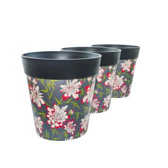 Set of 3 plastic 'bamboo floral',  indoor/outdoor pots 22cm x 22cm